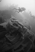 Divers on the wreck of the P&O liner Moldavia, which was sunk in WW1 off the south coast of England