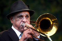 05 May 2012. New Orleans, Louisiana,  USA. .New Orleans Jazz and Heritage Festival. .Jazz trombonist Wendell Eugene performs with the 'Preservation Hall and Friends' ensemble. .Photo; Charlie Varley.