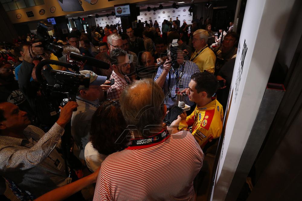 Daytona Beach, FL - Feb 22, 2017: Joey Logano (22) meet with the media during the annual Daytona 500 Media Day at the Daytona International Speedway in Daytona Beach, FL.