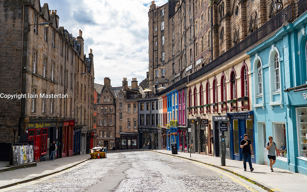 Edinburgh, Scotland, UK. 12 July, 2020, Business slowly returning to normal in Edinburgh city centre. Tourists still almost non existent and streets remain very quiet in the Old Town. The West Bow and Victoria Street are now closed to traffic. Iain Masterton/Alamy Live News