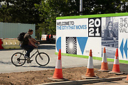 Signage on a hoarding around a construction site for Coventrys status as UK City of Culture 2021 on 23rd June 2021 in Coventry, United Kingdom. The UK City of Culture is a designation given to a city in the United Kingdom for a period of one year. The aim of the initiative, which is administered by the Department for Digital, Culture, Media and Sport. Coventry is a city which is under a large scale and current regeneration.