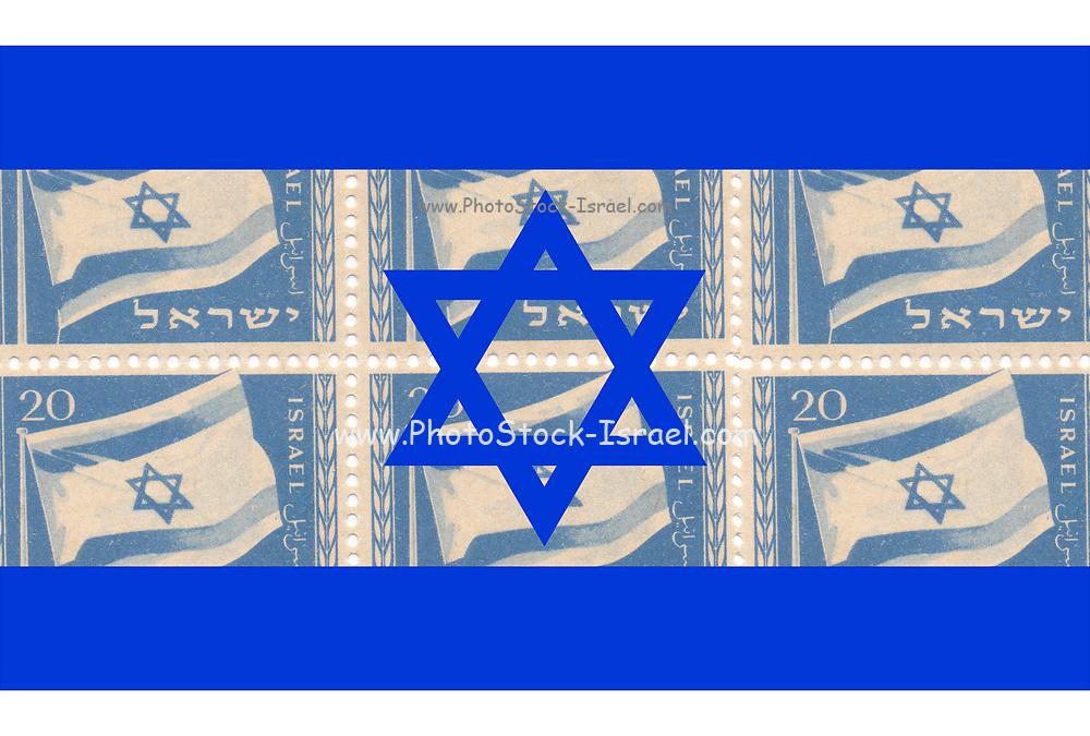 Digitally enhanced image Israeli Stamp of the Israeli flag from 1949 on Israeli flag background