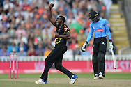 Jerome Taylor of Somerset celebrate the wicket of David Wiese during the Vitality T20 Finals Day semi final 2018 match between Sussex Sharks and Somerset County Cricket Club at Edgbaston, Birmingham, United Kingdom on 15 September 2018.