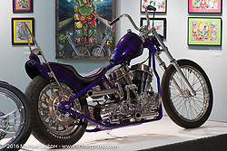 Bill Dodge's Bling's Cycles custom 1950 Panhead in Michael Lichter's Skin & Bones tattoo inspired Motorcycles as Art Exhibition at the Buffalo Chip Gallery during the annual Sturgis Black Hills Motorcycle Rally.  SD, USA.  August 10, 2016.  Photography ©2016 Michael Lichter.
