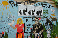 Berlin's amazing street art often contains well designed social commentary and is added to by others creating a living changing wall..