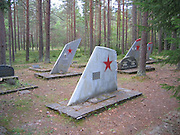 Ämari Pilots' Cemetery: The Woodland Graves of Deceased Soviet Flyers<br /> <br /> In September 2010 the 9,000-foot runway at Ämari Air Base in Estonia was relaid in a bid to transition the former Warsaw Pact airfield to NATO use. But echoes of its Soviet days abound across the site, nowhere more poignant than the unusual Ämari pilots' cemetery, which lies in woodland south of the airfield.<br /> Originally called Suurküla, Ämari Air Base lies in Estonia's Harju County, four miles south of Lake Klooga. Before the collapse of the Soviet Union it was home to several squadrons of Sukhoi Su-24 Fencer medium bombers.<br /> But since April 2014, the facility has hosted a detachment of Danish F-16 fighter jets, tasked with NATO's mission to defend the airspace of Estonia, Latvia and Lithuania.<br /> Meanwhile, in the base's woodland cemetery rest the bodies of Soviet pilots killed on active service, some of their graves marked by the tail fins of Russian-built combat aircraft against which, ironically, the base is defended today.<br /> ©Exclusivepix Media