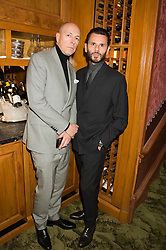 Left to right, DYLAN JONES and CARLO BRANDELLI at a cocktail reception hosted by the Woolmark Company, Pierre Lagrange and the Savile Row Bespoke Association to celebrate 'The Ambassador's Project' for London Collections Mens at Marks Club, Charles street, London on 8th January 2016.