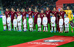 Players of Latvia listening to the National anthem during the 2020 UEFA European Championships group G qualifying match between Slovenia and Latvia at SRC Stozice on November 19, 2019 in Ljubljana, Slovenia. Photo by Vid Ponikvar / Sportida