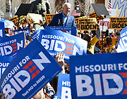 """Former Vice-President Joe Biden speaks at a Get Out The Vote rally at Kiener Plaza in downtown St.Louis, Missouri, USA.The statue at left is entitled """"The Runner"""" and was placed there in honor of Harry Kiener, a former St. Louis Olympian for whom the plaza is named. <br /> <br /> Tim VIZER/AFP"""