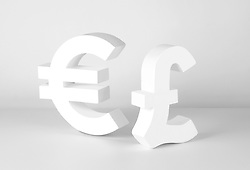 Euro and Pound signs on grey background (Credit Image: © Image Source/Howard Bartrop/Image Source/ZUMAPRESS.com)