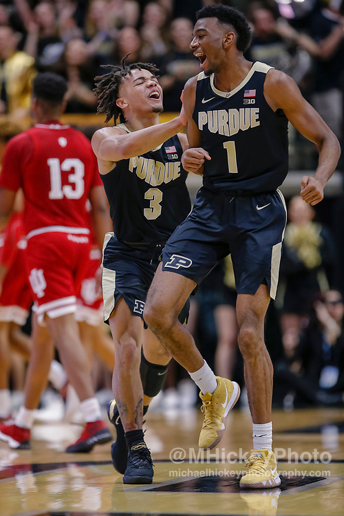 WEST LAFAYETTE, IN - JANUARY 19: Carsen Edwards #3 and Aaron Wheeler #1 of the Purdue Boilermakers celebrate during the game against the Indiana Hoosiers at Mackey Arena on January 19, 2019 in West Lafayette, Indiana. (Photo by Michael Hickey/Getty Images) *** Local Caption *** Carsen Edwards; Aaron Wheeler