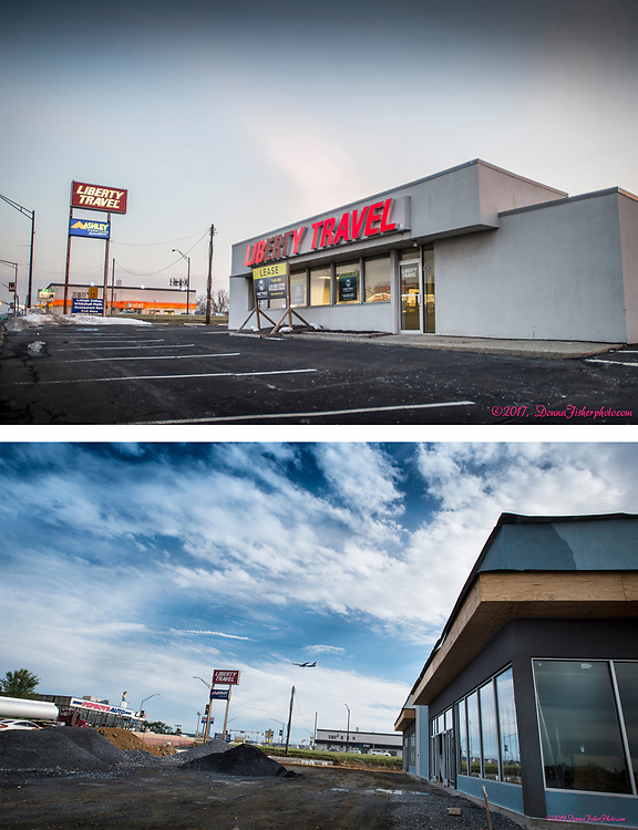 The building that housed Liberty Travel across from Pep Boys along MacArthur Road in Whitehall Twp., Lehigh County, Pa. (in 2017, top) has been demolished. It is being rebuilt, bottom. Picture made Oct., 2019. Donna Fisher Photography, LLC