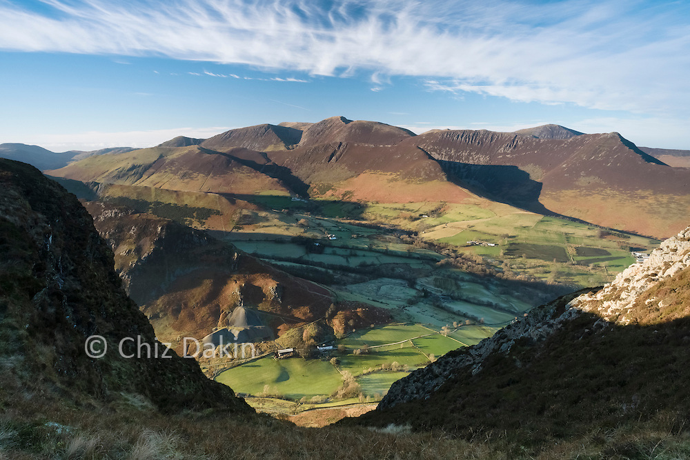 View down the sneaky gully hidden by Bull Crag across to the Grasmoor group