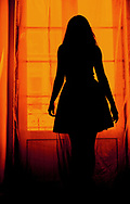 Silhouette of a woman in a dress in front of balcony door