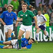 Tommy Bowe, Ireland, chases a kick through during the Ireland V Italy Pool C match during the IRB Rugby World Cup tournament. Otago Stadium, Dunedin, New Zealand, 2nd October 2011. Photo Tim Clayton...