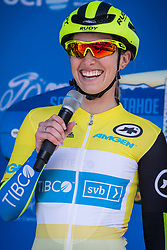 May 18, 2018 - South Lake Tahoe, California, U.S - Friday, May 18, 2018.Race leader, KENDALL RYAN, of Team TIBCO - Silicon Valley Bank (USA), wearing the yellow jersey,  smiles as she is introduced prior to Stage 2 of the Amgen Tour of California Women's Race empowered with SRAM, which starts and finishes in South Lake Tahoe, California, near Heavenly Ski Resort. (Credit Image: © Tracy Barbutes via ZUMA Wire)