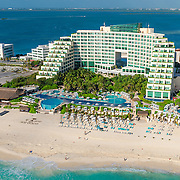 Aerial view of the Live Aqua Resort. Cancun, Mexico.