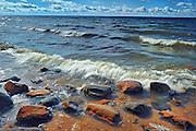 Rocks on shore of Lake Nipissing<br /> North Bay<br /> Ontario<br /> Canada