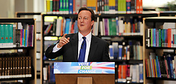 David Cameron during  his speech at Milton Keynes Open University David Cameron delivering his speech in the library at Milton Keynes Open University , during his Local Election Campaign,Tuesday 26th May 2009...FOR EDITORIAL USE ONLY. NOT FOR SALE FOR MARKETING OR ADVERTISING CAMPAIGN