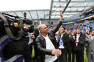 Peter Ward former Brighton striker introduced to the crowd during the Sky Bet Championship match between Brighton and Hove Albion and Watford at the American Express Community Stadium, Brighton and Hove, England on 25 April 2015.