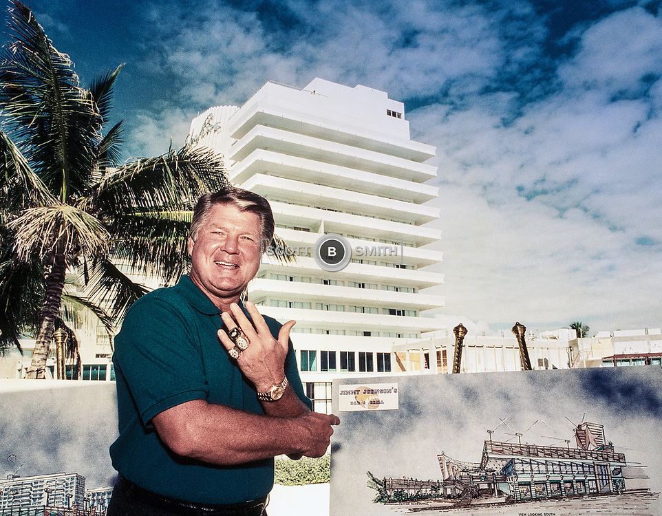 Coach Jimmy Johnson during a PR shoot for his Three Rings Bar and Grill in the Eden Roc Resort Miami Beach October 1994