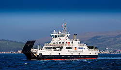 The Calmac ferry 'Loch Shira' making the short crossing from Largs on the Scottish mainland to the island of Great Cumbrae of the west coast of Scotland<br /> <br /> (c) Andrew Wilson   Edinburgh Elite media