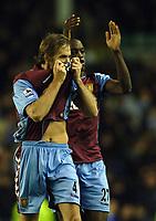 Photo: Paul Greenwood.<br />Everton v Aston Villa. The Barclays Premiership. 11/11/2006. Villa players Olof Mellburg, left and Isaiah Osbourne celebrate victory.