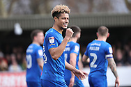 AFC Wimbledon striker Lyle Taylor (33) celebrating after scoring penalty to make it 1-0 during the EFL Sky Bet League 1 match between AFC Wimbledon and Oxford United at the Cherry Red Records Stadium, Kingston, England on 10 March 2018. Picture by Matthew Redman.