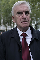 October 5, 2018 - London, Greater London, United Kingdom - John McDonnell, Labor Member of Parliament seen during the demonstration..Wetherspoons, TGI Fridays, and McDonald's workers rally together in London to demand better working conditions and a fair pay in the hospitality industry. (Credit Image: © Andres Pantoja/SOPA Images via ZUMA Wire)