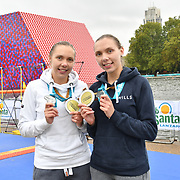 Katherine Gray,Katrina Gray is a Twin sister receive a medal Swim Serpentine 2018, London, UK. 22 September 2018.