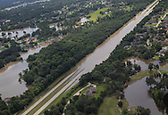 Water  flooding a closed interstate in Livingston Parish in Lousiana