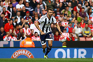 Gareth McAuley of West Bromwich Albion in action. Barclays Premier League match, Stoke city v West Bromwich Albion at the Britannia stadium in Stoke on Trent, Staffs on Saturday 29th August 2015.<br /> pic by Chris Stading, Andrew Orchard sports photography.