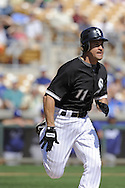 GLENDALE, AZ - MARCH 5:  Omar Vizquel #11 of the Chicago White Sox bats against the Los Angeles Dodgers on March 5, 2010 at The Ballpark at Camelback Ranch in Glendale, Arizona. (Photo by Ron Vesely)