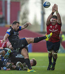 December 9, 2018 - Limerick, Ireland - Billy Holand of Munster and Ludovic Radosavljevic of Castres during the Heineken Champions Cup Round 3 match between Munster Rugby and Castres Qlympique at Thomond Park Stadium in Limerick, Ireland on December 9, 2018  (Credit Image: © Andrew Surma/NurPhoto via ZUMA Press)