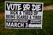 Vote or Die headline on a poster to encourage African Americans to vote in the democratic primary on 3rd March 2020 in Selma, Alabama, United States. Voter suppression is rife in Alabama: a report from March 2020 by the Southern Poverty Law Centre shows that it is difficult to register and to vote, especially for African Americans. Alabama and its Governor Kay Ivey deem the vote as a privilege to be protected rather than a right for all. It is feared that voter suppression will be a key element of Trump's campaign in the 2020 elections.