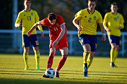BANGOR, WALES - Saturday, November 17, 2018: Wales' Joseph Adams scores the first goal during the UEFA Under-19 Championship 2019 Qualifying Group 4 match between Sweden and Wales at the Nantporth Stadium. (Pic by Paul Greenwood/Propaganda)