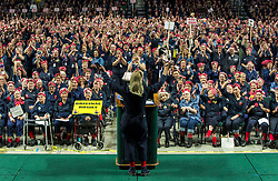 Oct.14, 2017 - Ypsilanti, Michigan, U.S. -  Congresswoman DEBBIE DINGELL (D-MI) speaks from the podium at Eastern Michigan University during an attempt to set a Guinness World Record for most 'Rosie the Riveters'. Some 3,755 women, men and children were officially counted, shattering the previous record held by Richmond, California. The world record effort brings attention to the campaign to renovate the Willow Run factory, home of the original Rosie the Riveter, during WWII. (Credit Image: © Brian Cahn via ZUMA Wire)