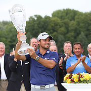 Jason Day, Australia, with the trophy after winning the The Barclays Golf Tournament by six shots at The Plainfield Country Club, Edison, New Jersey, USA. 30th August 2015. Photo Tim Clayton