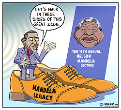 Johannesburg 18-07.18. Former US president Barack Obama delivers the 16th Nelson Mandela Annual Lecture. Cartoon: Bethuel Mangena/African News Agency (ANA)