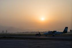 """THEMENBILD - Eine Maschine der nepalesischen Fluglinie """"Tara Air"""" am Tribhuvan International Airport in Kathmandu. Wanderung im Sagarmatha National Park in Nepal, in dem sich auch sein Namensgeber, der Mount Everest, befinden. In Nepali heißt der Everest Sagarmatha, was übersetzt """"Stirn des Himmels"""" bedeutet. Die Wanderung führte von Lukla über Namche Bazar und Gokyo bis ins Everest Base Camp und zum Gipfel des 6189m hohen Island Peak. Aufgenommen am 08.05.2018 in Nepal // Trekkingtour in the Sagarmatha National Park. Nepal on 2018/05/08. EXPA Pictures © 2018, PhotoCredit: EXPA/ Michael Gruber"""