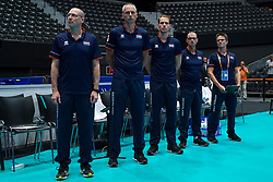 09-08-2019 NED: FIVB Tokyo Volleyball Qualification 2019 / Netherlands, - Korea, Rotterdam<br /> First match pool B in hall Ahoy between Netherlands - Korea (3-2) for one Olympic ticket / Coach Roberto Piazza of Netherlands, Ass. coach Henk-Jan Held of Netherlands