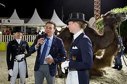 PETIT Arnaud (Moderator), LÜTKEMEIER Fabienne (GER), BRÖRING-SPREHE Kristina (GER)<br /> Hagen - Horses and Dreams meets the Royal Kingdom of Jordan 2018<br /> Show - The Magic of Arabica<br /> 28. April 2018<br /> www.sportfotos-lafrentz.de/Stefan Lafrentz
