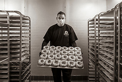 Michael Guitard, is the baker at the NY Bagel Factory in Coral Springs.