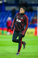 Manchester United Forward Alexis Sanchez (7) warms up before the The FA Cup match between Chelsea and Manchester United at Stamford Bridge, London, England on 18 February 2019.