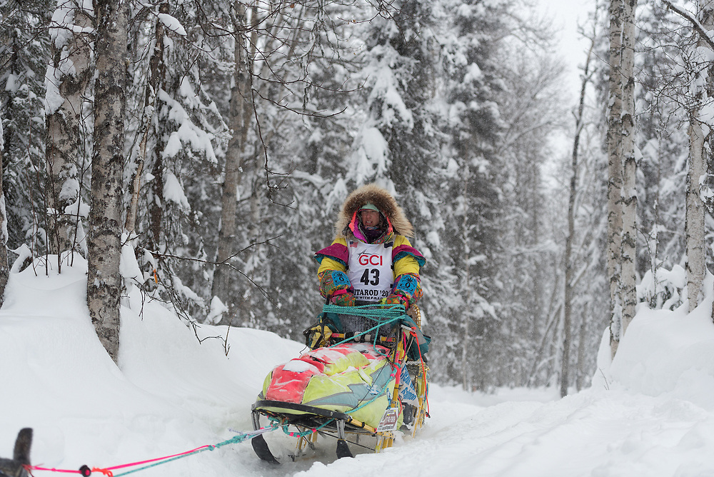 Monica Zappa was clearly the most colorful musher on the trail, moving through the forest like Joseph in a technicolor dreamcoat.