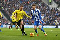 Football - 2016 / 2017 Sky Bet Championship - Brighton & Hove Albion vs. Burton Albion<br /> <br /> Brighton's Solly March and Lasse Vigen Christensen of Burton Albion in action at the Amex Stadium Brighton<br /> <br /> COLORSPORT/SHAUN BOGGUST