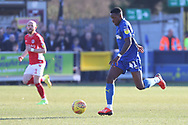 AFC Wimbledon attacker Michael Folivi (41) dribbling during the EFL Sky Bet League 1 match between AFC Wimbledon and Charlton Athletic at the Cherry Red Records Stadium, Kingston, England on 23 February 2019.
