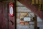 HUSTLE, VIRGINIA - JULY 26: Signs hang on the wall of Randy Silvers' and Carolyn Berry's horse barn on their Rock Spring Farm on Sunday, July 26, 2015 in Hustle, Virginia. The couple are giving away their 18th-century horse farm, that Silvers and his first wife rebuilt and restored, by hand-picking the next owner to the winner of an essay contest. (Photo by Pete Marovich For The Washington Post)