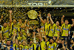 June 5, 2017 - Saint Denis, Seine Saint Denis, France - The ASM team Clermont-Auvergne, receives the trophy of the French champion, the shield of Brennus, after their victory against RC Toulon 22-16 (Credit Image: © Pierre Stevenin via ZUMA Wire)