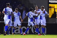 Goal - Edward Upson (6) of Bristol Rovers celebrates scoring a goal to give a 1-0 lead to the home team during the EFL Sky Bet League 1 match between Bristol Rovers and AFC Wimbledon at the Memorial Stadium, Bristol, England on 23 October 2018.
